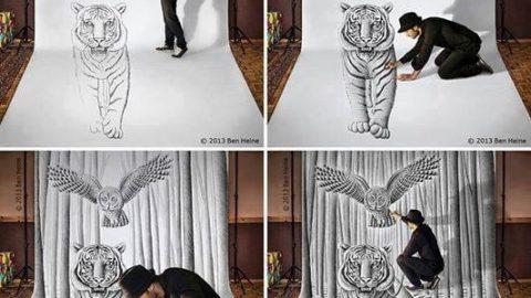 طراحی در میان نقاشی هایش