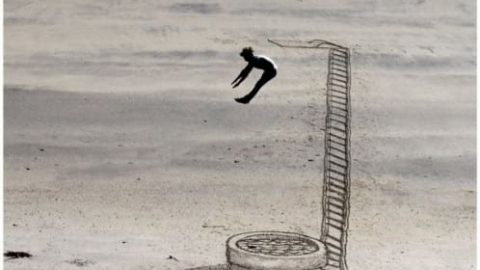طرح های سه بعدی روی شن های ساحل