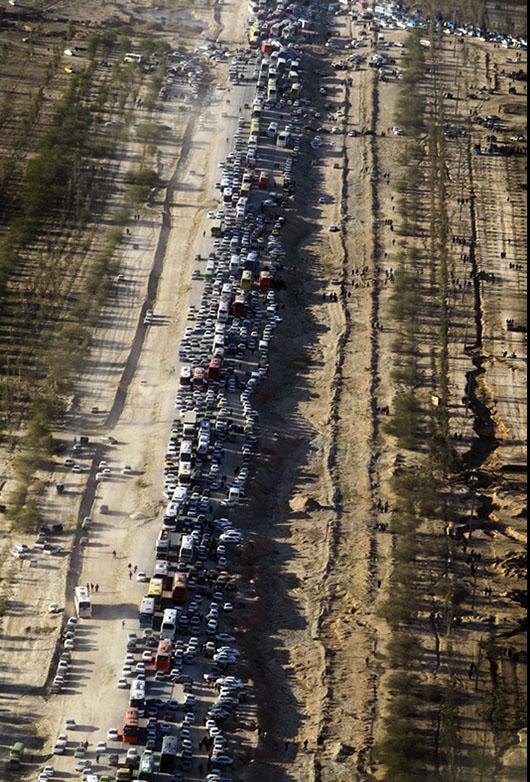 تصاویر هوایی از عبور زائران کربلا از مرز مهران