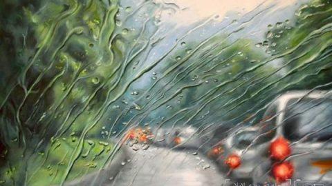 """نقاشی """"رانندگی در یک روز بارانی"""""""