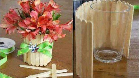 کاردستی گلدان چوبی