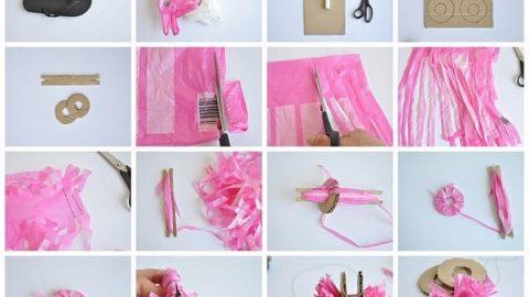 کاردستی دم پایی با گل پلاستیکی