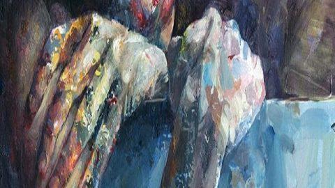 نقاشی اکریلیک دیوید آگنجو از زندگی شهری