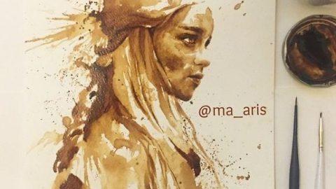 نقاشی با قهوه های ریخته شده
