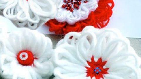 کاردستی گل های کاموایی