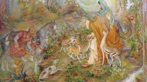 عکسی از تابلوی «ضامن آهو» استاد فرشچیان