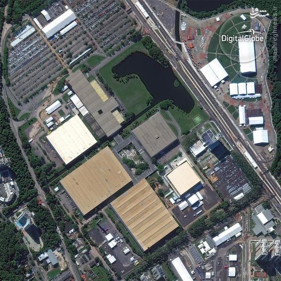 A satellite photo of the Riocentro complex in Rio de Janeiro