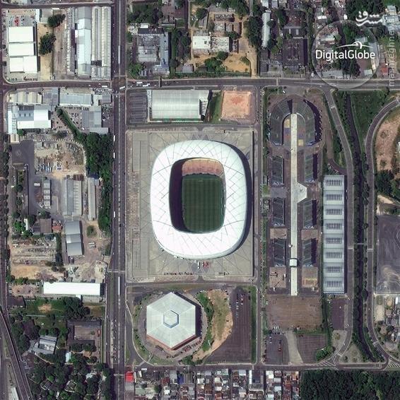 A satellite photo of the Arena Amazonia in Manaus