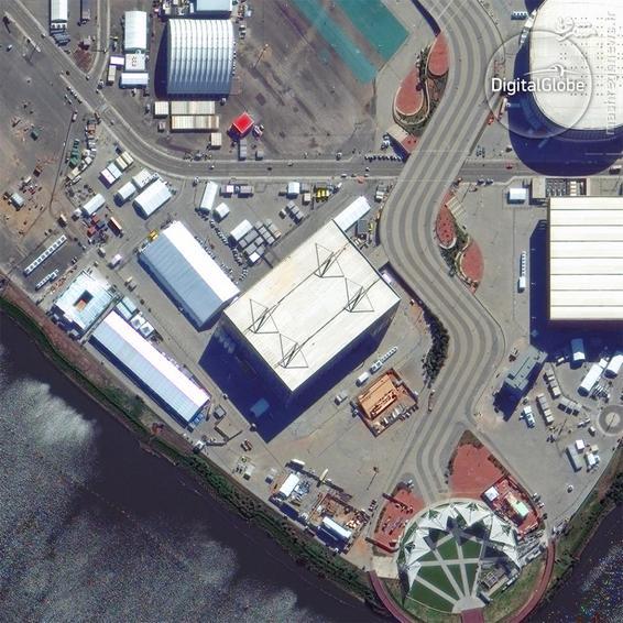 A satellite photo of the Barra Aquatics Stadium in Rio de Janeiro