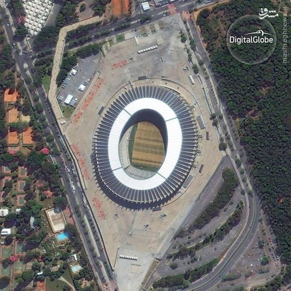 A satellite photo of the Mineirao Stadium in Belo Horizonte