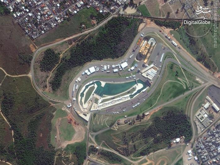A satellite photo of the Whitewater Stadium in Rio de Janeiro