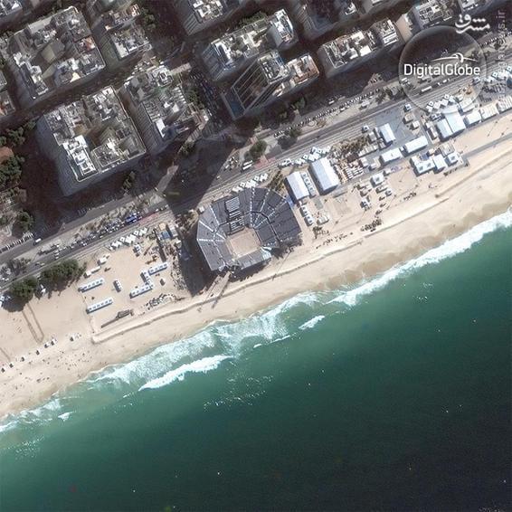 A satellite photo of the Beach Volleyball Arena Copacabana in Rio de Janeiro
