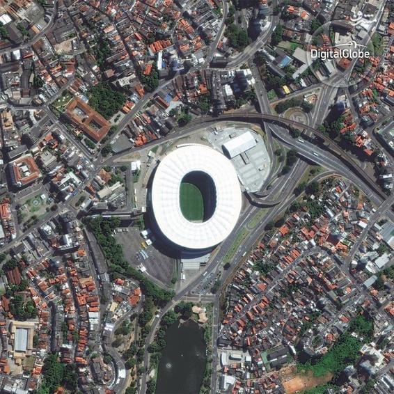 A satellite photo of the Fonte Nova Stadium in Salvador