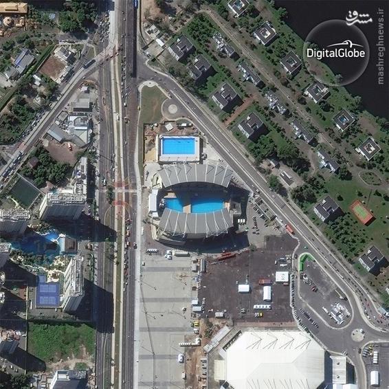 A satellite photo of the Maria Lenk Aquatics Center in Rio de Janeiro