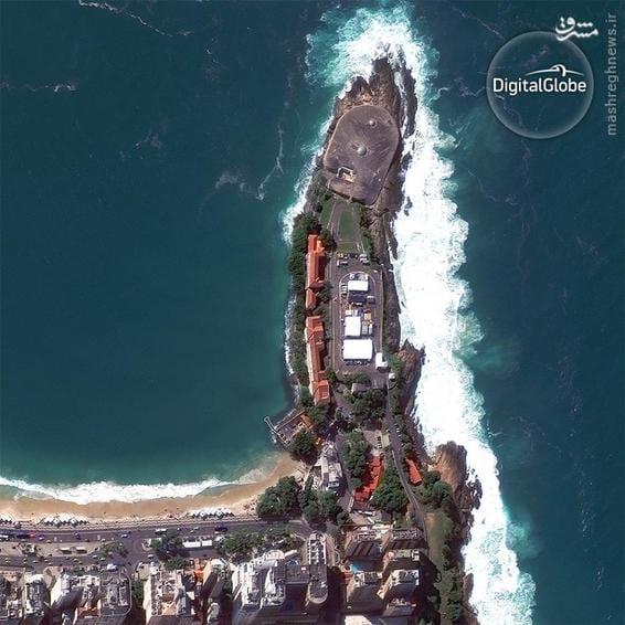 A satellite photo of Fort Copacabana in Rio de Janeiro