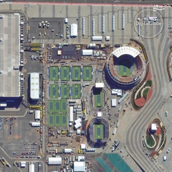 A satellite photo of the Barra Tennis Center in Rio de Janeiro
