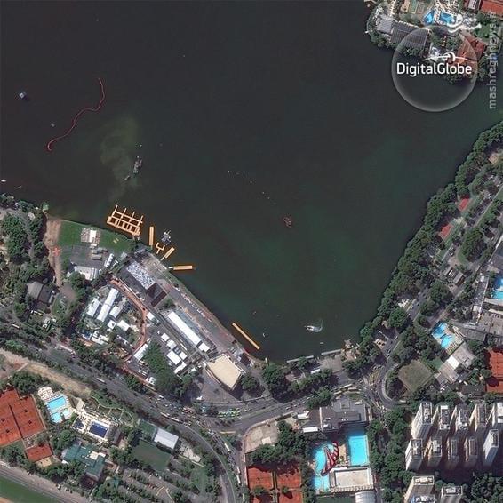 A satellite photo of the Lagoa Rodrigo de Freitas in Rio de Janeiro