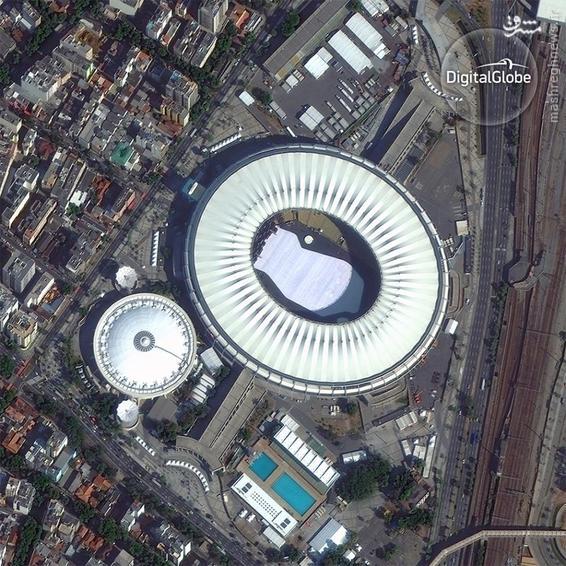 A satellite photo of the Maracana Olympic Stadium in Rio de Janeiro