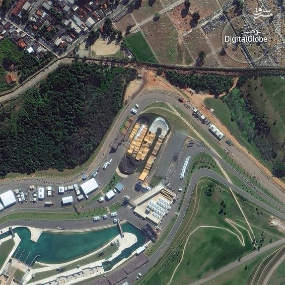 A satellite photo of the BMX Center in Rio de Janeiro