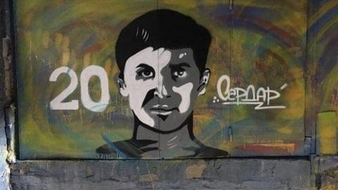 نقاشی از چهره آزمون روی دیوار ورزشگاه روستوف