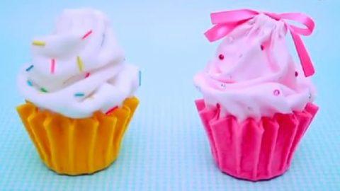 کاردستی جامدادی یا جای جواهرات به شکل کاپ کیک (ویدئو)