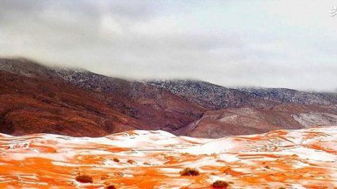 بارش برف در صحرای آفریقا بعد از ۳۷ سال!