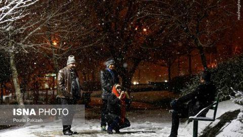 شب برفی در همدان