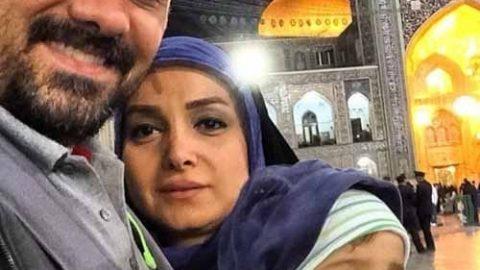 بازیگر مشهور و همسرش در مشهد مقدس