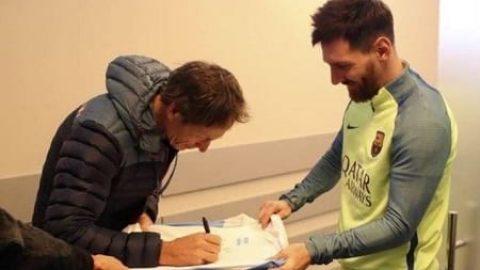 وقتی مسی به جای امضا دادن امضا می گیرد