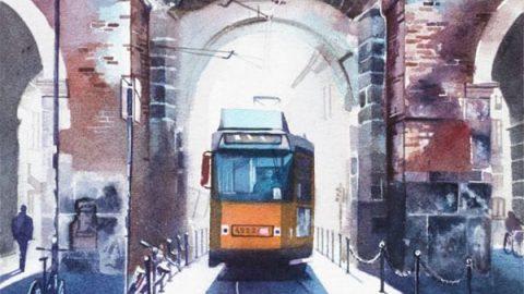 نقاشی های آبرنگی از مکان های توریستی شهر میلان ایتالیا