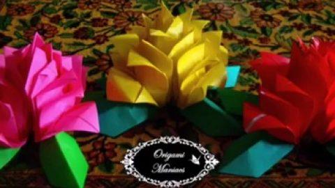 کاردستی با کاغذ؛ گل رز (ویدئو)