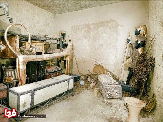تصاویر دیده نشده از کشف مقبره فرعون و اشیا داخلش