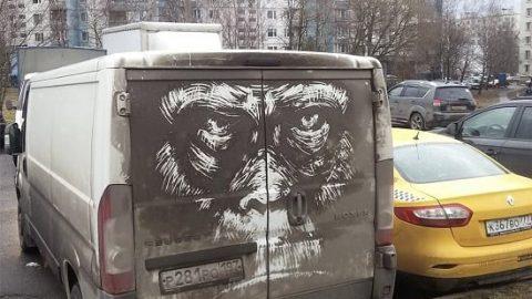 نقاشی بر روی ماشین های کثیف!