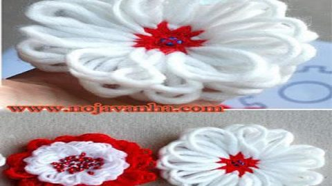 کاردستی گل کاموایی