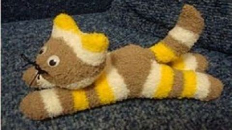 کاردستی عروسک گربه | ساخت عروسک با جوراب