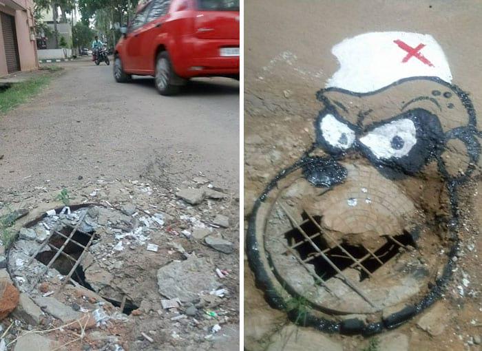 نقاشی کردن چاله های خیابان در هند