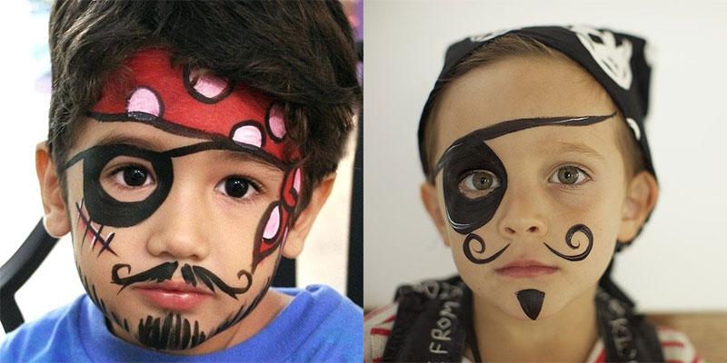 نقاشی صورت پسرانه ساده دزد دریایی