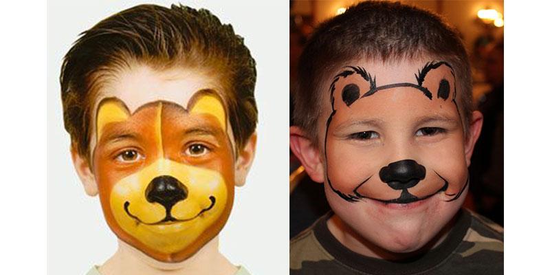 نقاشی روی صورت پسرانه خرس