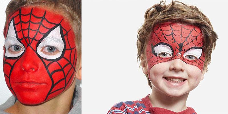 نقاشی صورت کودکان پسرانه مرد عنکبوتی