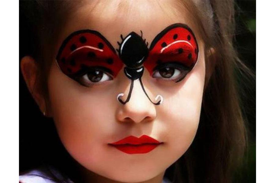 نقاشی روی صورت کودکان دخترانه ساده کفشدوزک
