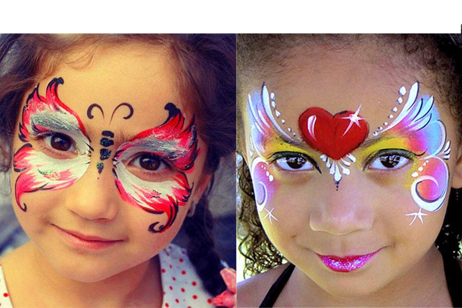گریم صورت دختران با نقاشی پروانه