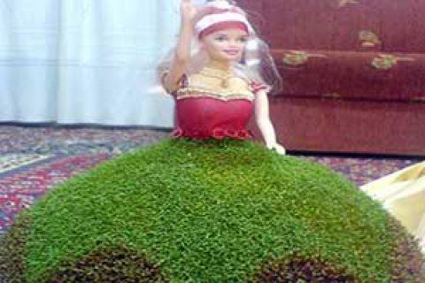 کاردستی سبزه روی دامن عروسک
