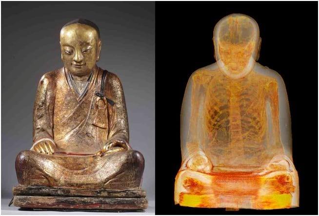 تصویری از مومیایی در مجسمه بودا