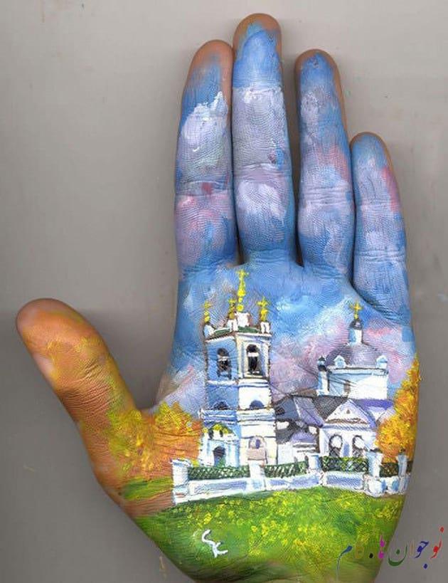 خلاقیت در نقاشی ؛ نقاشی بر کف دست