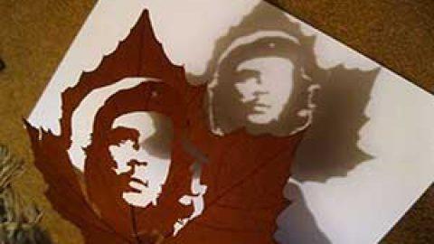 تابلوهای پاییزی از برگ های خشک