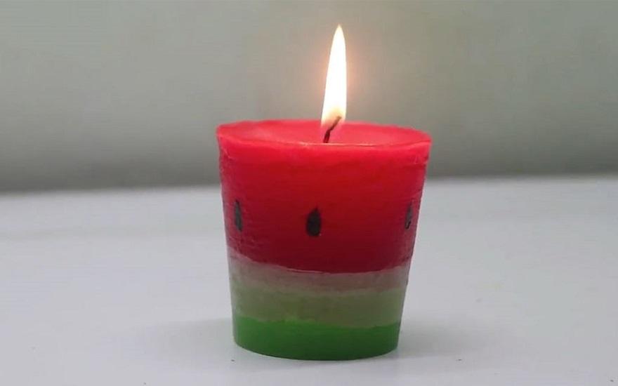 تصویری از کاردستی شمع هندوانه ای