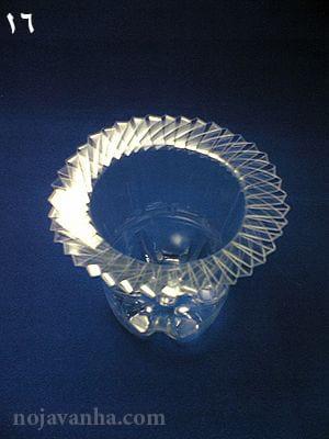 کامل شده کاردستی گلدان هنری با بطری از نمای بالا