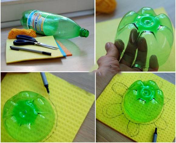 مراحل ساخت کاردستی لاک پشت با بطری نوشابه :