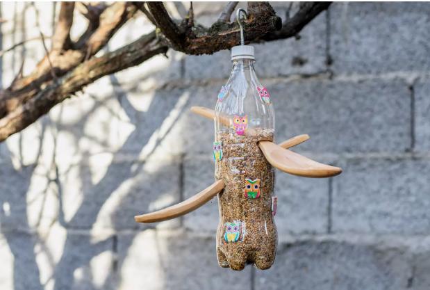 ظرف غذای پرنده با بطری پلاستیکی