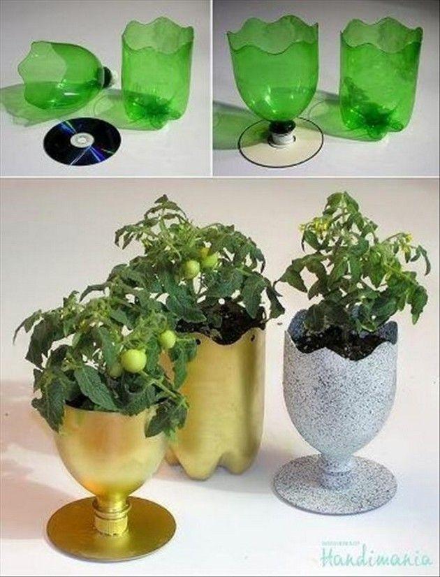 کاردستی گلدان با بطری نوشابه ای